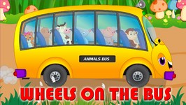 Wheels On The Bus Go Round and Round Nursery Rhyme - Animal Wheels On The Bus