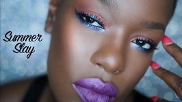 Colorful Summer Cat Eye makeup for dark skin