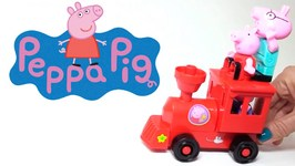 Peppa Pig Cartoons  Playground Railway Ride And  Train Construction  Kid's Cartoons Animations