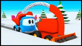 Leo The Cartoon Truck - SNOWPLOW - Children's Toy Trucks Construction Cartoons
