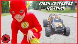 Superman Vs FLASH Vs RC MONSTER TRUCK Traxas Edition Superhero Real Life Movie Comic SuperHeroKids