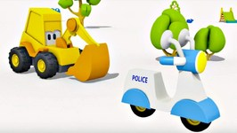 Car Cartoon And Kids Games  Excavator Max And Surprise Egg  Police scooter  Animation For Kids