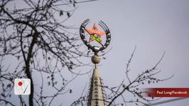 Spectacular SpongeBob stunt in former Soviet Union