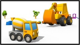 Kid's 3D Construction Cartoons  Surprise Egg Unnboxing  Cement Mixer Hide And Seek With Excavator Max