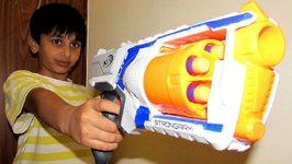 NERF GUNS - NERF War Unboxing Toys, Dart Slam Fire Gun, Elite Strongarm, Minions, Dinosaurs