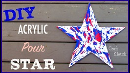 Acrylic Pour Art  Red, White and Blue Star Art