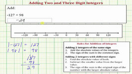 Ex: Add Two And Three Digit Integers (Negative Sum): Formal Rules And Number Line