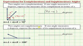 Ex: Write An Expressions For Complementary Angles And Supplementary Angles (Basic)