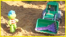 Froggy Frog And The Missing Rake  Children's Gardening With Truck And Excavator