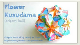 REAL-TIME ASSEMBLY- Origami Flower Kusudama - How to Fold an Origami Ball - Paper Crafts - Ornament