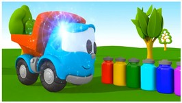 Toy Trucks   Leo Junior Paints An Apple Tree - Kid's 3D Coloring Cartoons