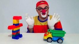 Giant Lego Clown  Children's Toy Cars - Clown Videos For Kids