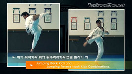 Taekwondo Jumping Back Kick, Jumping Reverse Hook Kick Combinations (Taekwonwoo)