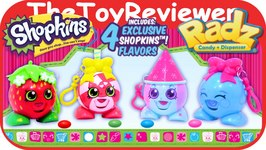 Shopkins Radz Candy Dispensers All 4 Tongue Pops Out Unboxing Toy Review