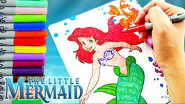 Disney Little Mermaid Ariel Coloring Pages Speed Coloring And 3D Effect Embossing