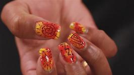 How to Paint your Nails with a Vibrant Yellow and Orange Party Design.