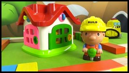Kid's Toy Construction - Mr Builder And His Excavator And Jack Hammer Build A House  Children's Videos