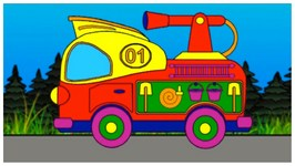 Magical Rainbow  Learn Colours With Fire Engine Truck - Childrens Educational Videos