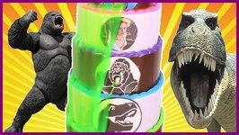 Dinosaurs Vs King Kong SLIME CAKE GAME With Jurassic World Dinosaur Toys Plus Slime Kids Games