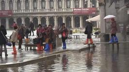 Venice under Water As High Tides Hit the City