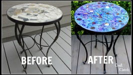 Garbage to Gorgeous Iridescent Resin Table Makeover  Craft Klatch  DIY