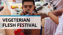 Bizarre Vegetarian Festival- Gruesome Facial Piercings