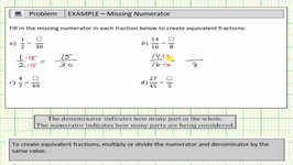 Determine The Numerator To Make Equivalent Fractions