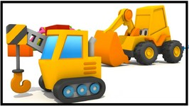Kid's 3d Construction Cartoons  Surprise Egg Unboxing  Crane Hide And Seek With Excavator Max