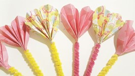 Fan Folded Paper Hearts - Valentine's Day Craft Idea