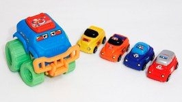 Children's Car Clown - Toy Cars Tug Of War   SUV And 4 Cars Toys Videos For Kids