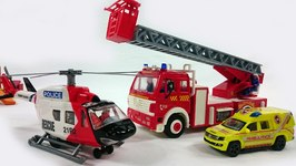 Kids Toys  Fire Rescue Team  Fire Engine Truck, Police, Ambulance And  Helicopter battle A Fire