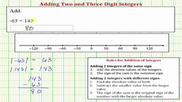 Ex: Add Two And Three Digit Integers (Positive Sum): Formal Rules And Number Line