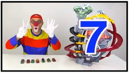 Car Clown  Eat Toy Cars And Learn To Count - Racetrack Machine From Marvel Toys