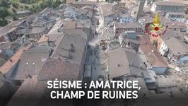 Aprs le sisme, un drone montre Amatrice en ruines