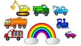 English Rainbow Colors Lesson With Trains And Vehicles - Educational Learn Colors Cartoons For Kids