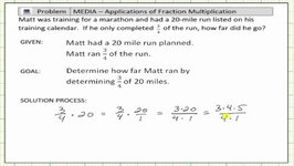 Fraction Time Whole Number Application: 3/4 Of A 20 miles