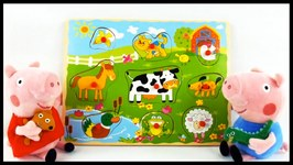 Peppa Pig And George's Farm Animals Puzzle - Toy Collection Demo Unboxing Game