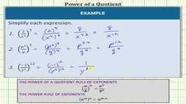 Simplify Expressions Using Exponent Rules (Power of a Quotient)