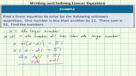 Write And Solve Linear Equation - Number Problem With Given Sum