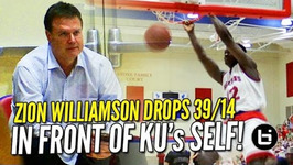 Zion Williamson Bullies His Way to 39 And 14 in Front of ku's Bill Self Raw Highlights
