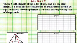 Find A Base and Face of a Square Pyramid Given Surface Area (Common Core Math 7/8 Ex 1)