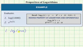 Using The Inverse Property Of Logarithms And Exponentials To Evaluate Expressions