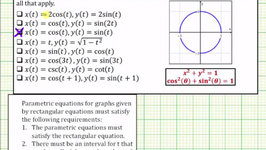 Determine Which Parametric Equations Given Would Give the Graph of the Entire Unit Circle