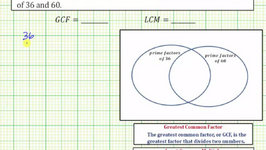 Ex 2: Determine the GCF and LCM using Prime Factors and a Venn Diagram