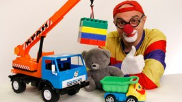 Car Clown - Videos for Kids - Toy Lego Crane Truck And Teddy Bear (Toy Trucks)