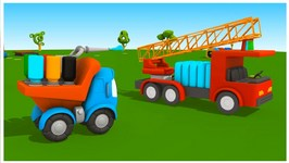 Tow Truck Cartoons - Leo's Fire Truck - Painting Games And Construction Puzzles