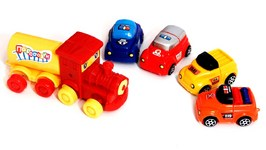 Children's Videos  Car Clown - Toy Car Convoy And Railway Train Locomotive  Videos For Kids