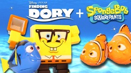 Disney FINDING DORY And FINDING SPONGEBOB Toys  Dory, Marlin And Nemo Swimming In Water