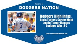 Dodgers Highlights Chris Taylors Historic Night Lifts Dodgers 13-7 Over Diamondbacks