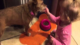 Adorable Baby Feeds Her Puppy Friend